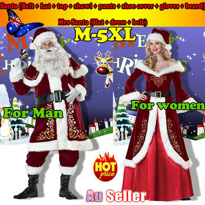 AU Christmas Santa Claus Suit Mens & Women Xmas Fancy Costume Party Outfit Dress