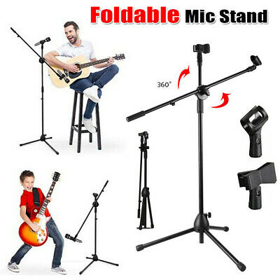 Foldable Professional Boom Microphone Mic Stand Holder Adjustable & 2 Clips Kids