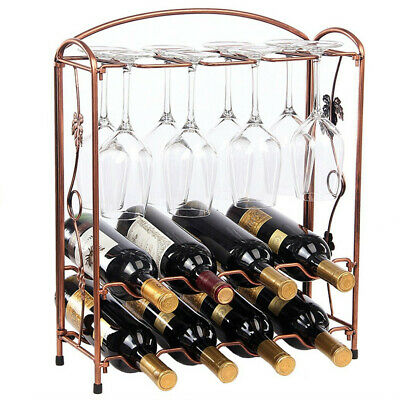 UNHO Heavy Duty Wine Rack for 8 Bottles Metal Home Bar Cabinet Storage Organiser