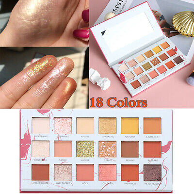18 Colors Eyeshadow Palette Matte Pearlescent Shimmer Glitter Eye Makeup Pigment