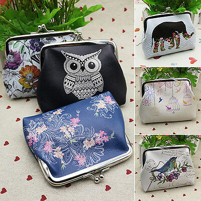 Womens Buckle Animal Floral Pouch Key Coin Holder Leather Purse Wallet Handbag