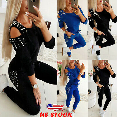 2Pcs Women Hoodies Tops Pants Tracksuit Set Sweatshirt Sweat Suit Gym Sportwear