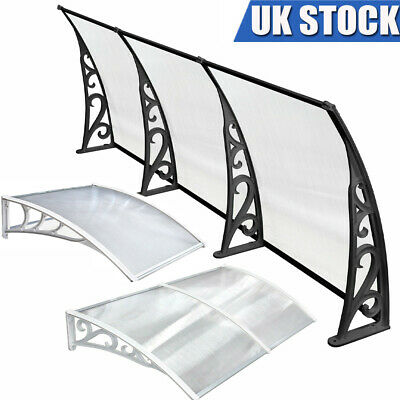 Door Canopy Awning Shelter Front Back Porch Outdoor Shade Patio Roof White/Black