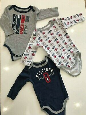 Tommy Hilfiger Baby 3 Pack Long Sleeve Bodysuits, Navy/Gray, 3-6 Months