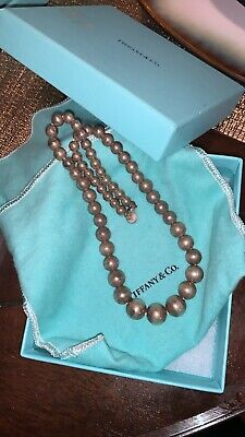 Tiffany & Co Sterling Silver Bead Ball Graduated Bead Necklace with Blue Box