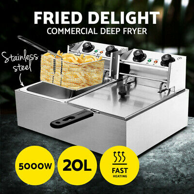 20L Deep Fryer Double Electric Basket Chip Benchtop Cooker Stainless Steel AU