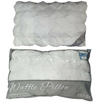 Pinch Pleat Waffle Pillow 100% Cotton Ruffled Pintuck Style Hollowfibre Filling