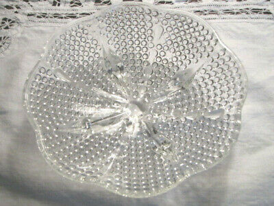 """Clear Glass Hobnail Footed Bowl Scalloped Edge Vintage 6.5"""" x 1 3/4"""""""