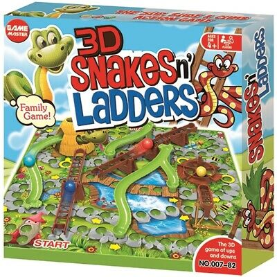 Childrens 3D Snakes & Ladders Board Game Kids Family Traditional Party Game Toy