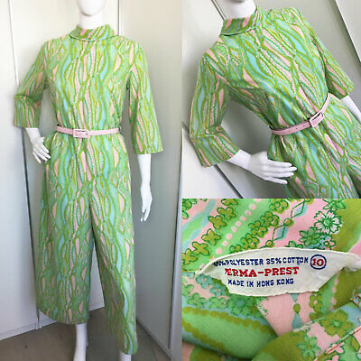 Vintage 1960s 1970s Psychedelic Green & Pink Cotton Jumpsuit & Belt M (12-14)