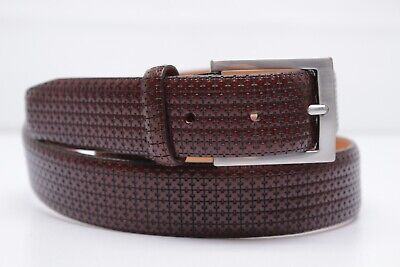 Tommy Bahama Mens Dress Belt 34 Brown Textured Leather Nickel Buckle Italy