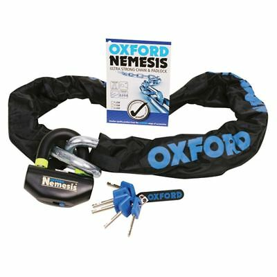 Oxford Nemesis Motorcycle Bike Chain & Padlock 1.2M Sold Secure Gold
