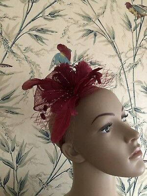Burgundy Red Feather Headband Fascinator Wedding Ladies Race Day Accessories