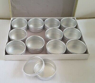 12 LIBERTY Round Storage Container Set Aluminum W/Glass Top Lid