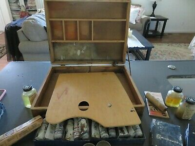 Vintage Antique Grumbacher Painting Box w/Paints, Brushes, & Much more