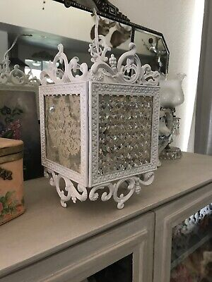 Vintage COTTAGE FRENCH LACE & Crystals Bird Cage Chandelier