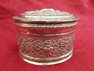 Fine Antique Indian Silver Oval Lidded Box 82g