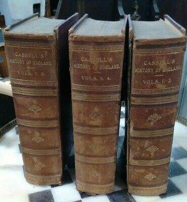 Antique Leather Bound Cassel's History of England Vols 1,2,3,4,7&8 in 3 large