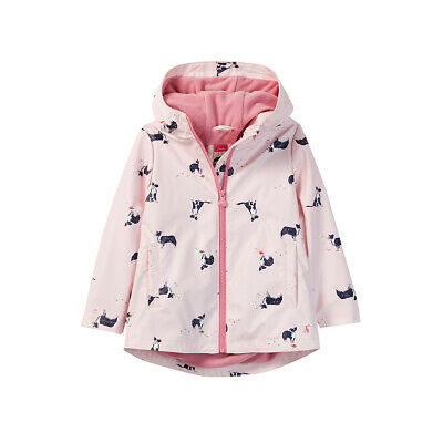 Joules Junior Girls Raindance Printed Rubber Coat Jacket Chalky Pink Dog, Age 1