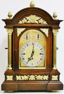 Antique Mahogany & Ormolu Triple Fusee 9 Gong Musical Chime W&H Bracket Clock