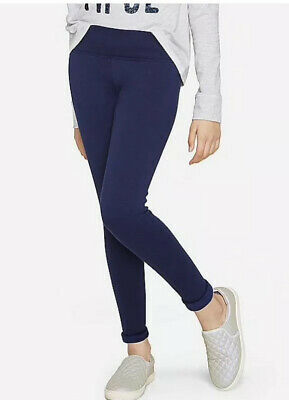Nwt Girls Justice Fleeced Lined Leggings Dark Navy Blue Size 8