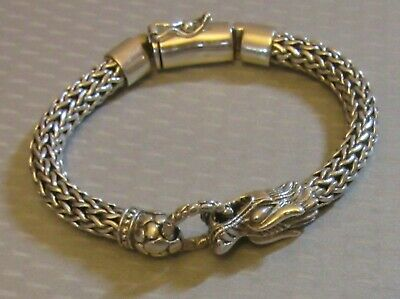 """925 STERLING SILVER DRAGON BRACELET 7.5"""" thick heavy braided rope 51g bali style"""