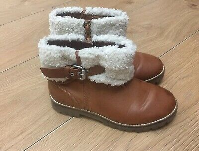 Zara Girls Tan  Boots Size 32 Used In Good Condition
