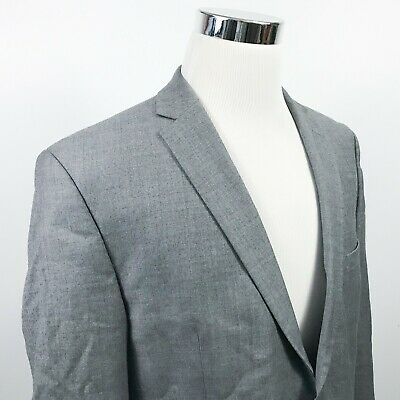 Vince Camuto Mens 44R Slim Fit Sport Coat Gray 100% Wool Two Button Double Vents