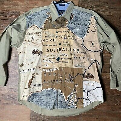 VTG 90s Chaps Ralph Lauren Australia Map Button Up Shirt Mens XL Polo Sportsman
