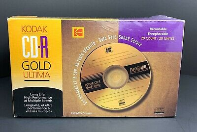 KODAK CD-R GOLD ULTIMA 650 MB, 74 minutes NEW Pack Of 20 With Cases Vintage 1999