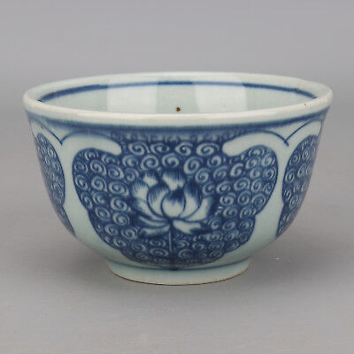 China antique Porcelain Ming wanli blue white hand painting Lotus bowl cup