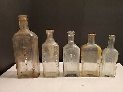 Antique Vintage Embossed Medicine Apothecary Perfume Clear Glass Bottle Lot Of 5