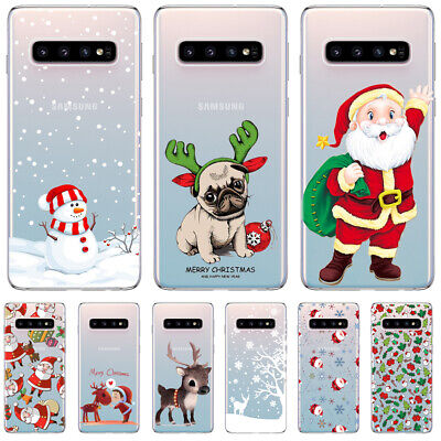 Case For Samsung Galaxy S9 S10 Plus S7 S8 Cover Festive Christmas Rubber Bumoper