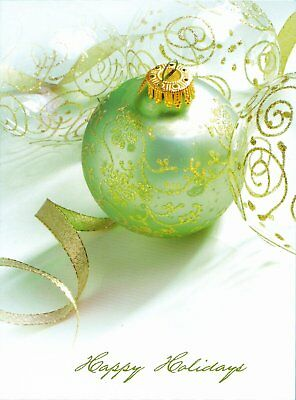 "Boxed Christmas Cards Green Ornaments Design, 4"" x 6"", 16 Cards and 17 Envelopes"