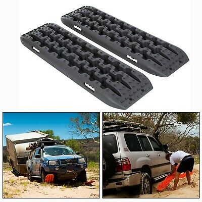 Pair Recovery Tracks Sand Tracks Traction Snow Tire Off Road Ladder Black 4WD