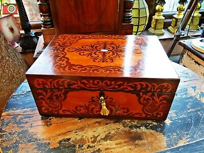 Good Quality Victorian Inlaid Jewellery Box, Lovely Colour, Restored Interior