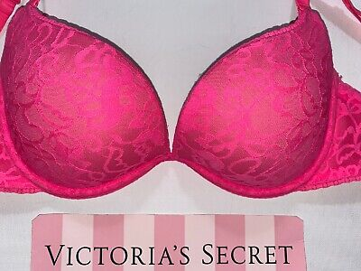 Victoria's Secret Bra size 36C Sexy little Things Push Up Pink Lace Valentines
