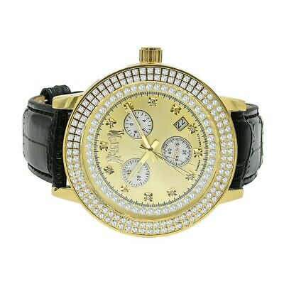 Mens Diamond Khronos Watch Black Leather Strap Band Analog Water Resistant Gold