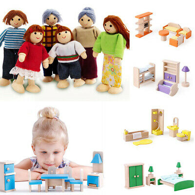 Latest Wooden Furniture Dolls House Family Miniature 6 Room For Kids Xmas Toys