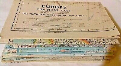 Lot of 27 Vintage National Geographic Maps Mixed Lot 1930s 1940s 1950s 1960s