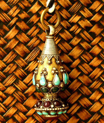 STUNNING!! Bukhara Antique Necklace, solid silver Pendent, Real Gold Gilt,