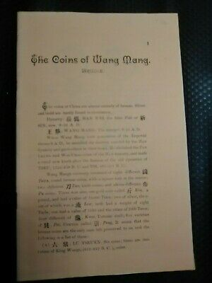 The Coins of Wang Mang by J A Brudin Free Post Australia