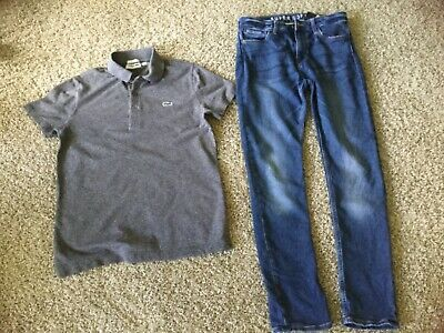 Boys H&M skinny stretch jeans & Lacoste polo t shirt bundle party outfit 13-14