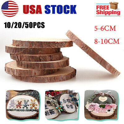 50PCS Wooden Wood Log Slices Discs Decorative Rustic Wedding Pyrography DIY