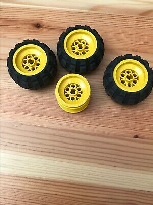Lego 4 x Large YELLOW Balloon Wheels 43.2 x 28 S soft Pneumatic Rubber Tyres