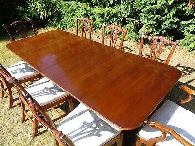A LARGE WILLIAM TILLMAN 8ft MAHOGANY DINING TABLE & 8 CHAIRS ANTIQUE STYLE