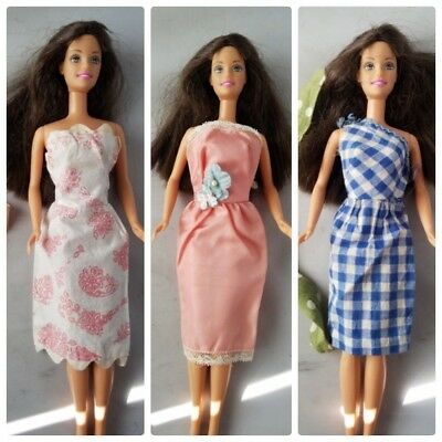 Vintage Handmade Barbie Doll Clothing Clothes Lot 3 Dresses & Scarf