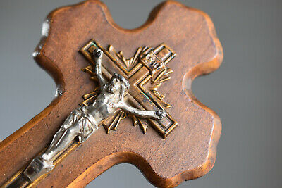 ⭐ antique French crucifix ,holy water font,19 th century ⭐