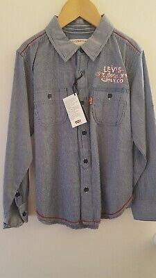 Levis Boys Navy/White fine Strip Shirt Size 8yrs - New with tag