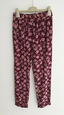 Next Girls Dark Wine Colour Floral Hareem Style Trousers (Casual Trousers) Age 9